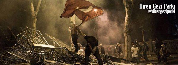 barikatta bayrak taşıyan adam