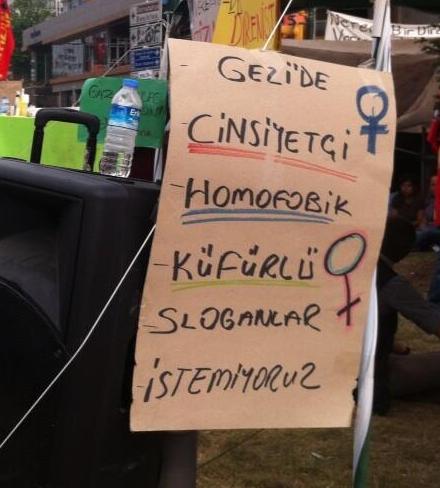 gezide cinsiyetci slogan istemiyoruz
