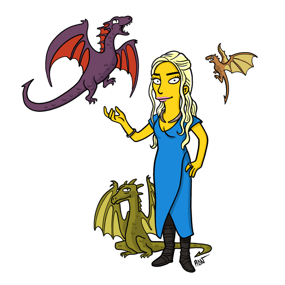 game-of-thrones-cizim-karikatur-simpsons-daenerys-targaryen