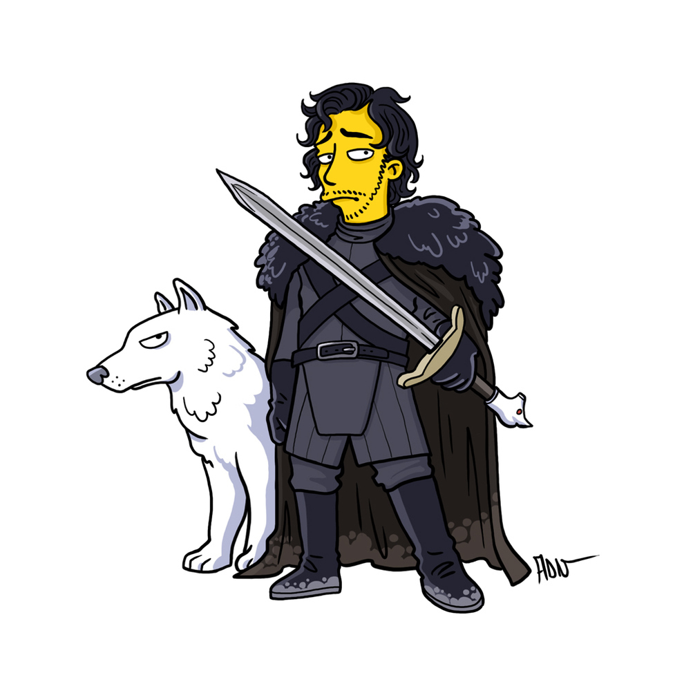 game-of-thrones-cizim-karikatur-simpsons-jon-snow