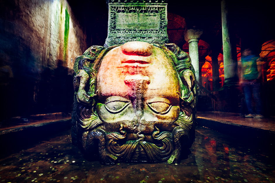Upside down Medusa head in The Basilica Cistern (Yerebatan Sarn