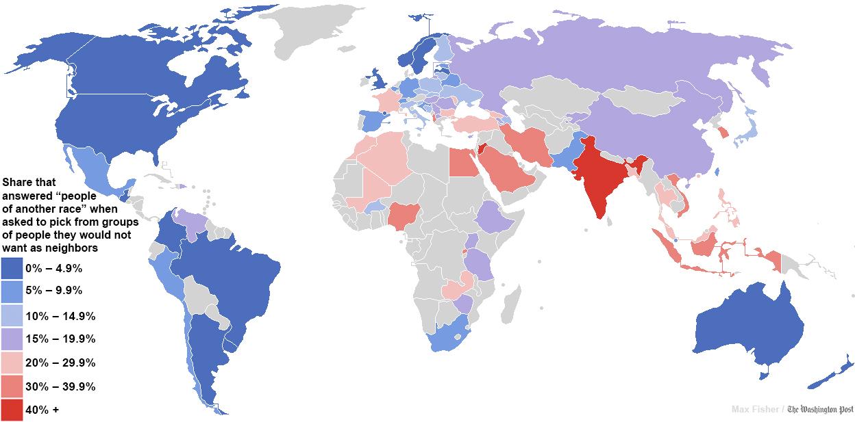 dünyada ırkçılığın dağılımı