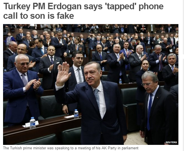 BBC News   Turkey PM Erdogan says  tapped  phone call to son is fake
