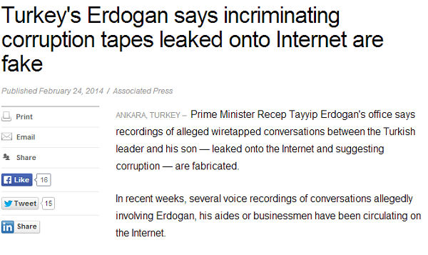 Turkey s Erdogan says incriminating corruption tapes leaked onto Internet are fake   Fox News