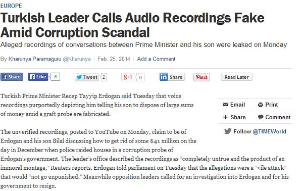 Turkish Leader Erdogan Says Incriminating Voice Recordings Are Fake   TIME.com