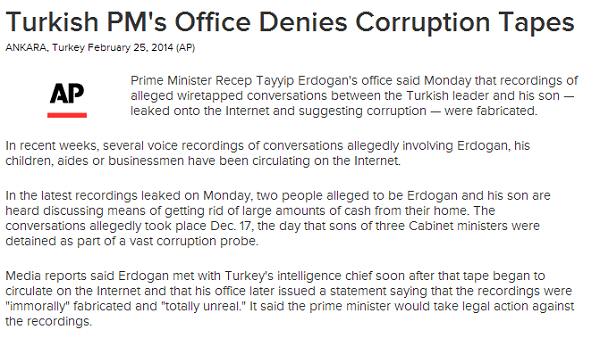 Turkish PM s Office Denies Corruption Tapes   ABC News