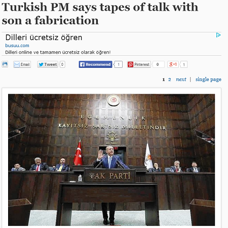 Turkish PM says tapes of talk with son a fabrication   chicagotribune.com