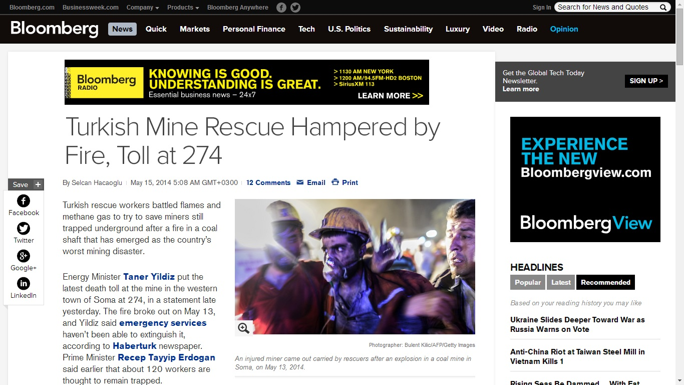 bloomberg-Turkish Mine Rescue Hampered by Fire, Toll at 274