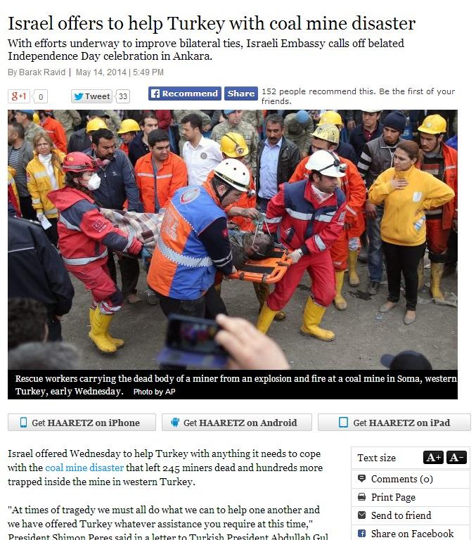 haaretz-Israel offers to help Turkey with coal mine disaster