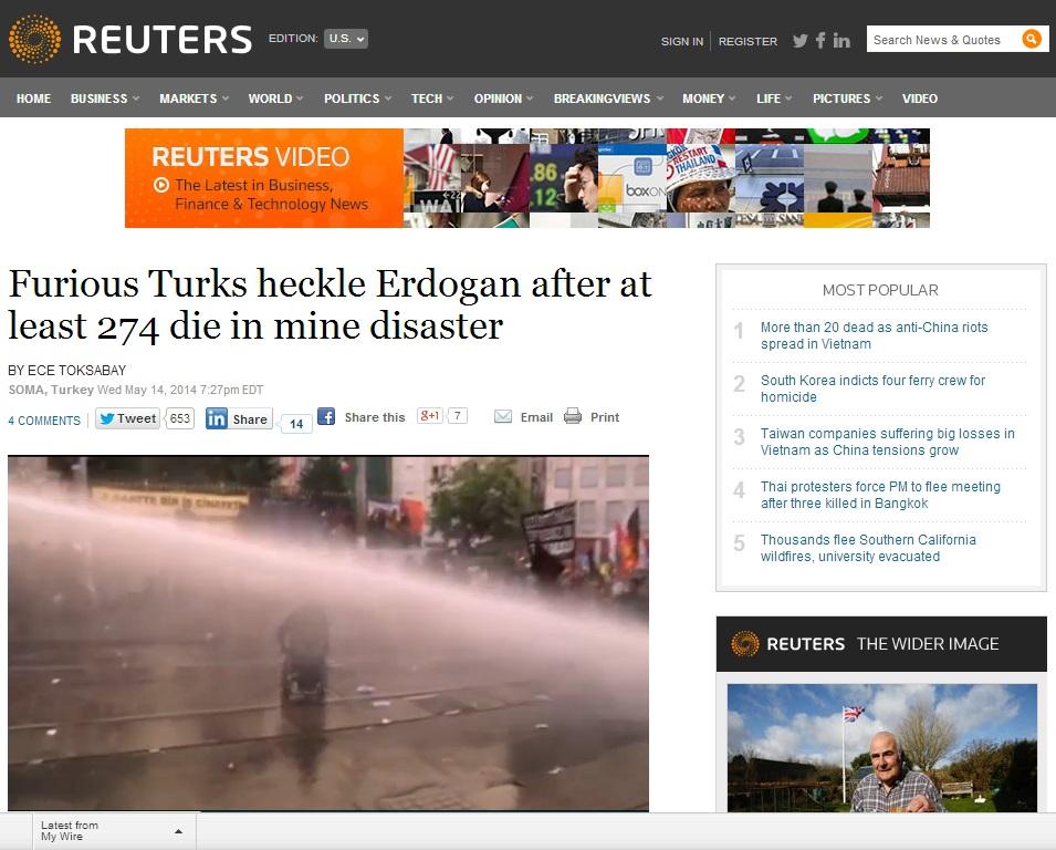 reuters-Furious Turks heckle Erdogan after at least 274 die in mine disaster
