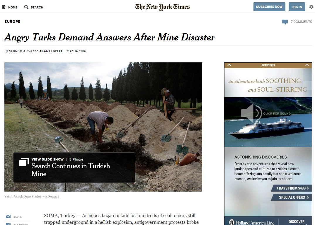 thenewyorktimes-Angry Turks Demand Answers After Mine Disaster