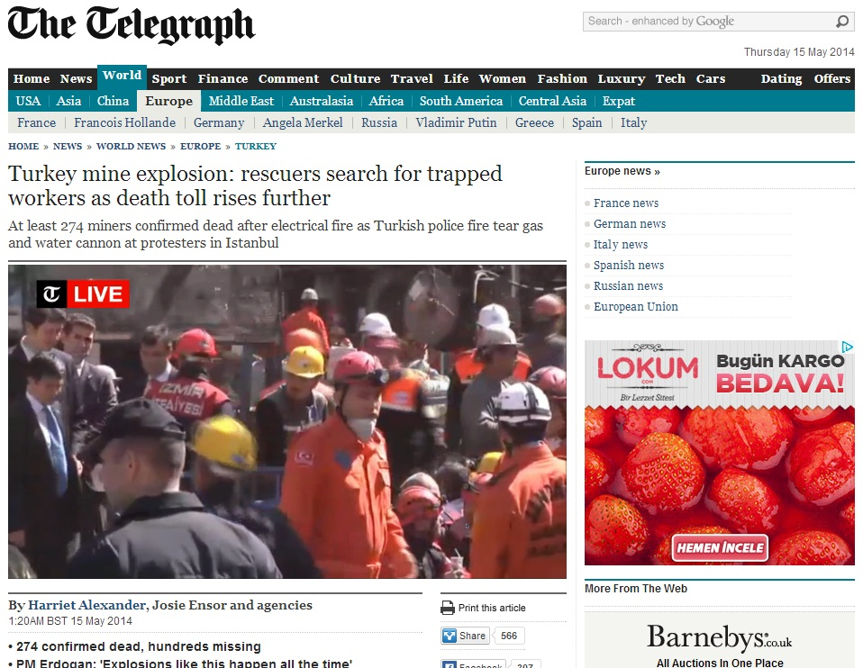thetelegraph-Turkey mine explosion rescuers search for trapped workers as death toll rises further