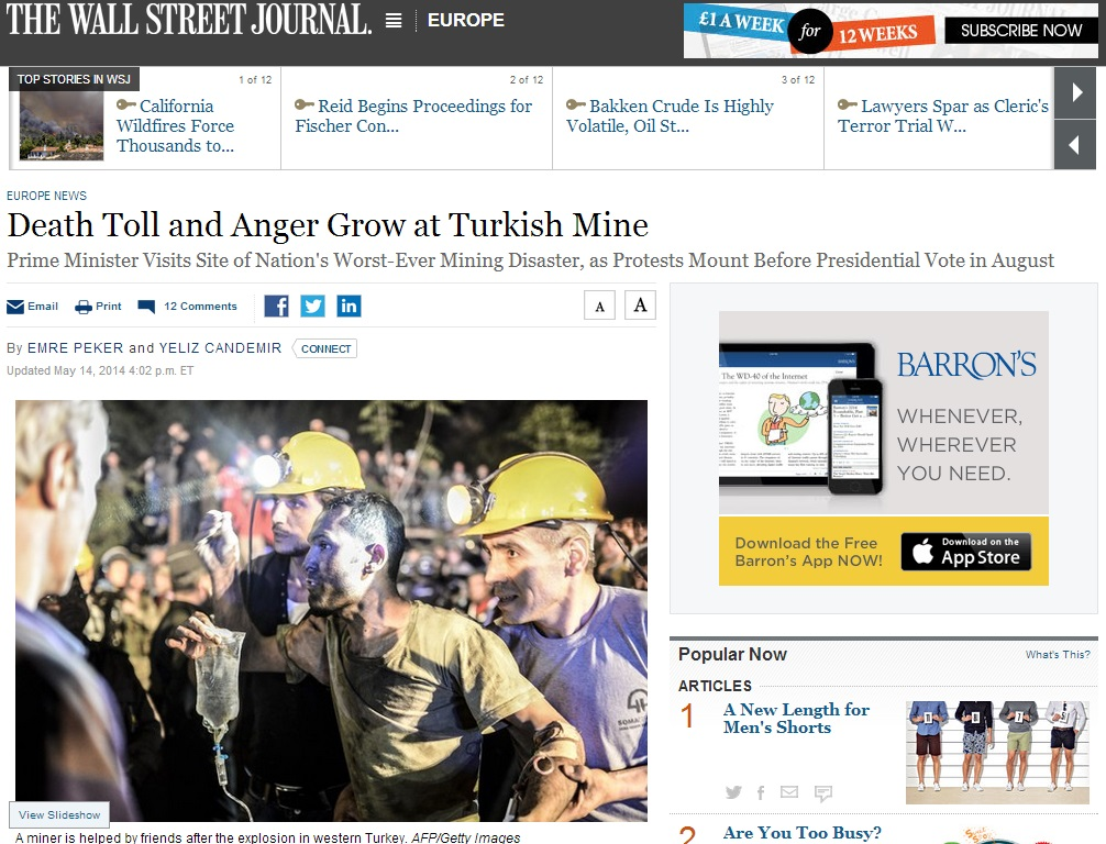 thewallstreetjournal-Death Toll and Anger Grow at Turkish Mine