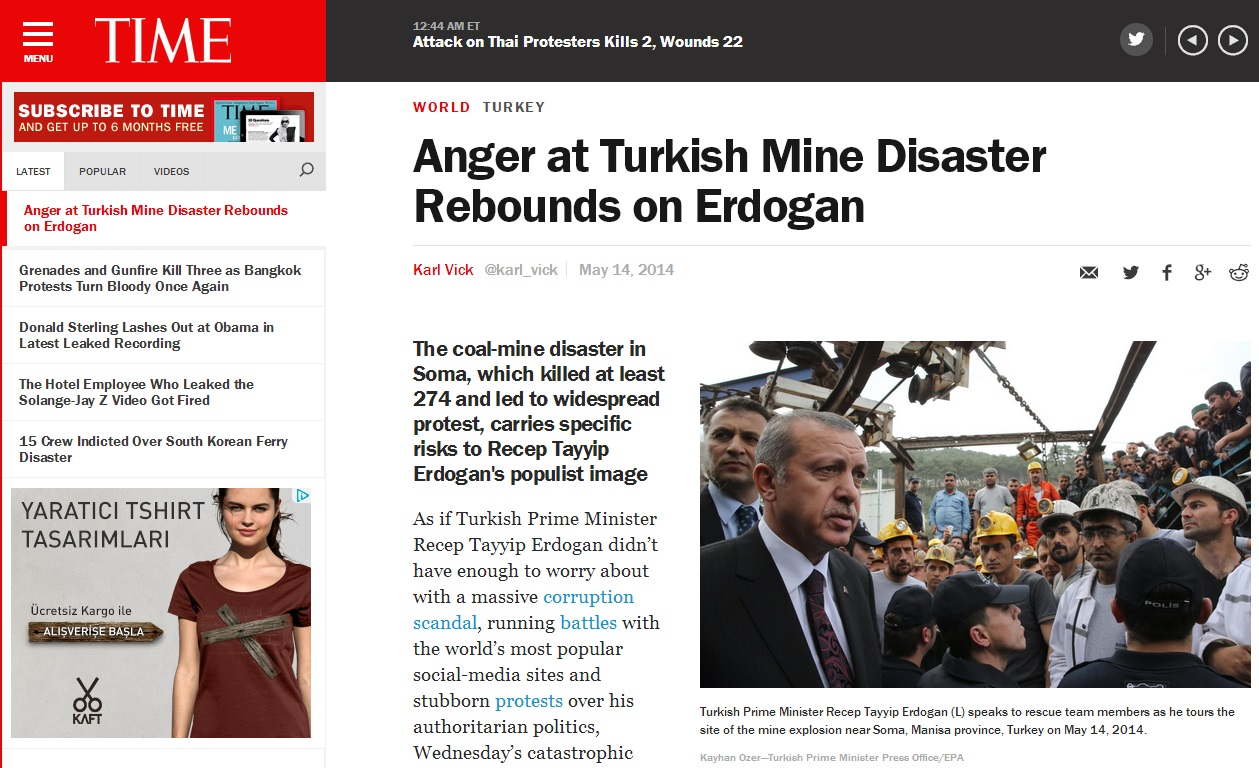 time-Anger at Turkish Mine Disaster Rebounds on Erdogan