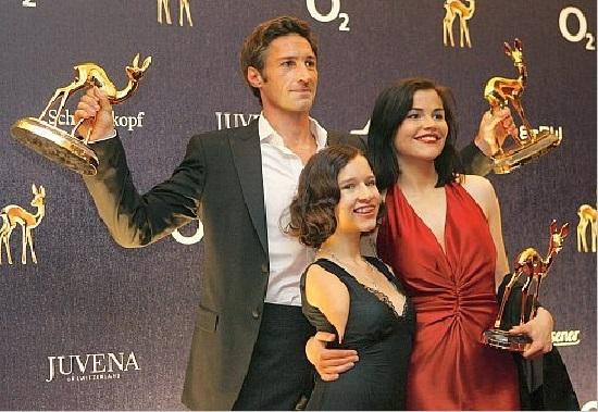 German actors Benjamin Stadler, Denise Marko and Katharina Wackernag pose with their Bambi awards in Duesseldorf