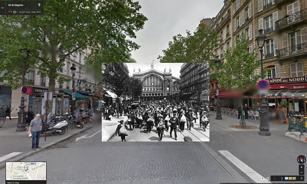 1914 French reservists in front of the Gare du Nord, Paris as they head off to join their units