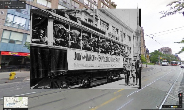 1914 New recruits on a street car in Toronto, Canada