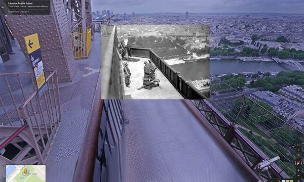 1916 An anti-aircraft gun placement on the Eiffel Tower in Paris