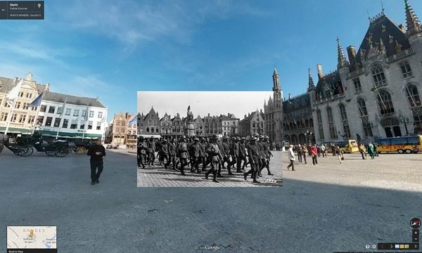 1917 British POWs being marched through Bruges, Belgium, by German soldiers