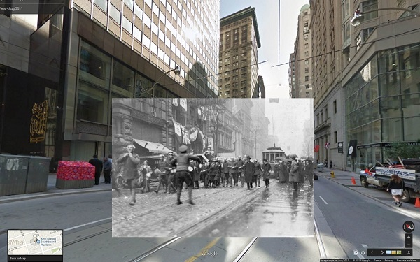 1918 Armistice Day in King Street West, Toronto