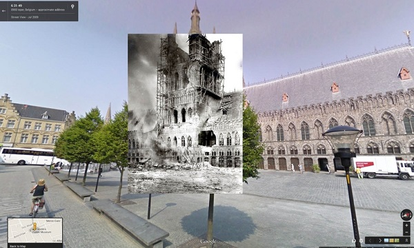 November 22 1914 The ruins of the Lakenhalle in Ypres Belgium