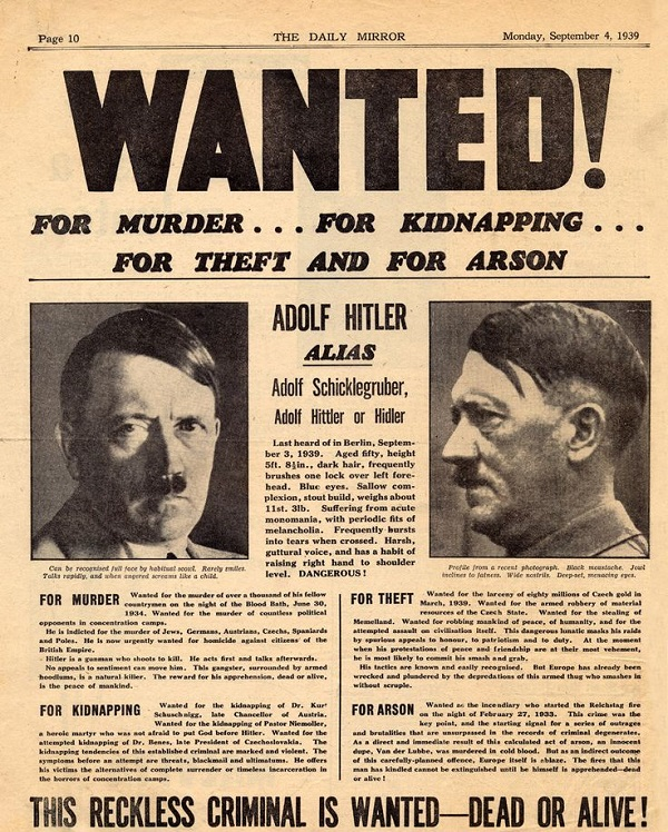 Daily Mirror (British) newspaper cover, 4th September 1939