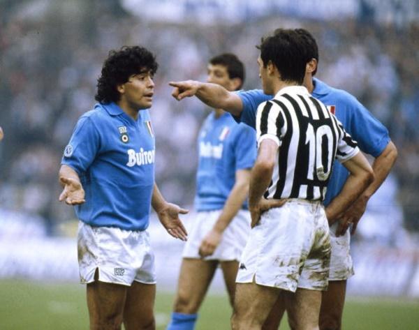 BT Italian League Serie A, pic: 17th April 1988, Juventus 3 v Naples 1, Napoli's Diego Maradona, left, in a dispute with Luigi De Agostini of Juventus, Diego Maradona won 91 Argentina international caps between 1977-1994
