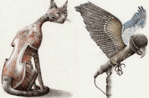 01-Ill-Have-That-Bird-Redmer-Hoekstra-Surreal-Animals-Ink-Drawings-www-designstack-co