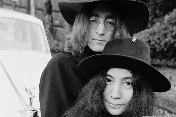 Yoko Ono and John Lennon at their home in England, December 1968.