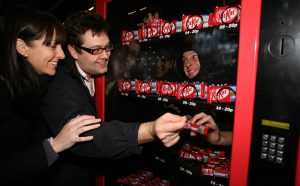 Kit Kat unveils the latest Japanese craze to hit the UK - a Human Vending Machine - as part of their 'working like a machine' campaign