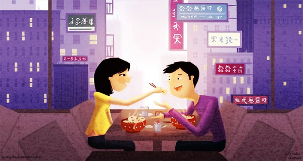 Illustration of couple sharing a dumpling