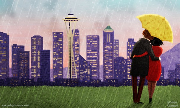 Illustration of couple in the rain in Seattle