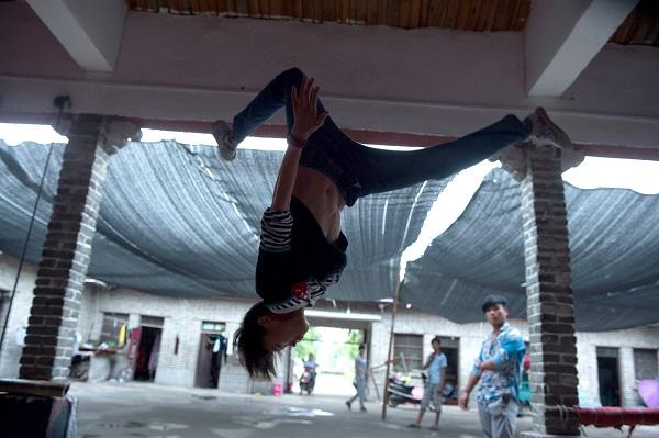 Acrobatic School child