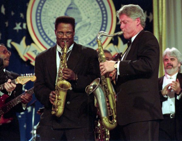 ADVANCE FOR WEEKEND EDITIONS, JAN. 15-16--FILE--President Clinton and Everett Harp play their saxophones during the Arkansas Ball on Inauguration evening at Washington's Convention center, Jan. 20, 1993. (AP Photo/Greg Gibson)