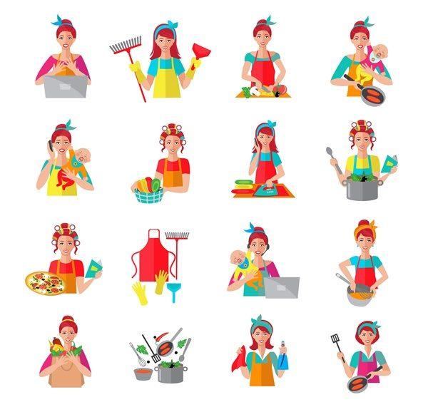 Housewife Icon Set