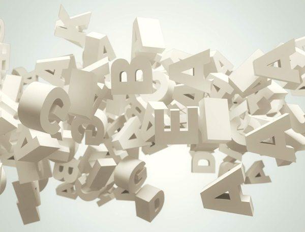 Random letters flying. High resolution 3d render