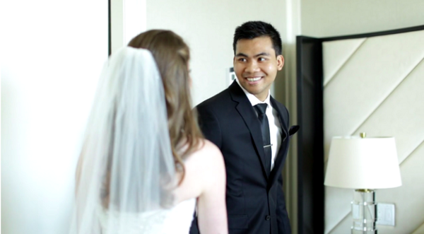 young couple happy wedding last