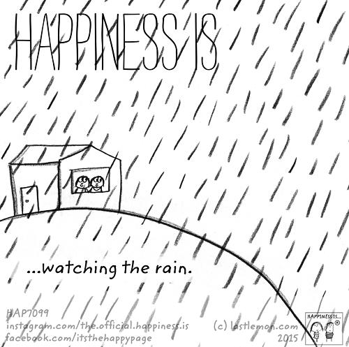 happiness watching the rain