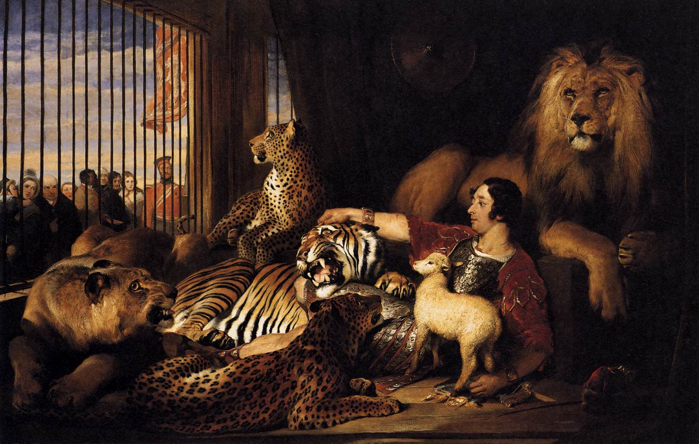 Sir Edwin Henry Landseer (1802-1873): Isaac van Amburgh with his Animals 1839 Öl auf Leinwand, 113 x 175 cm Royal Collection, Windsor