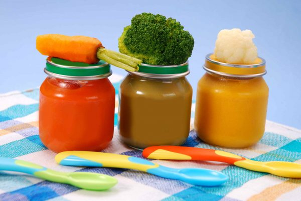 three jars of vegetables puree as baby food