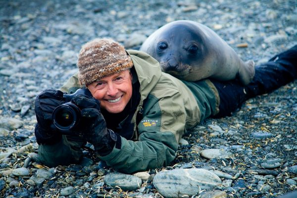 Art Wolfe and a Southern elephant seal weaner, South Georgia Island
