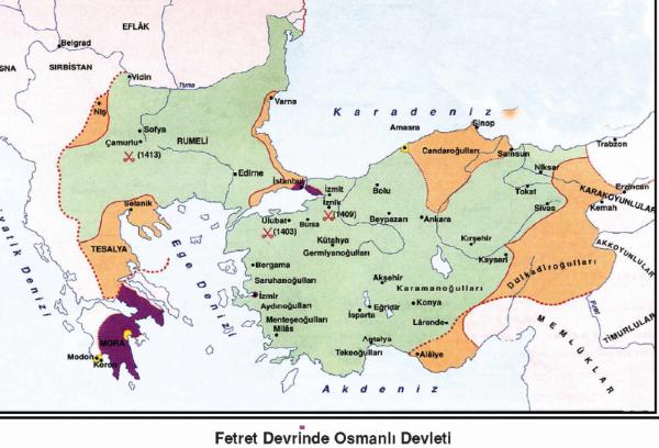 sehzade musa celebi 1411-13-fetret donemi harita