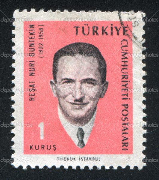 TURKEY - CIRCA 1965: stamp printed by Turkey, shows Resat Nuri Guntekin, Novelist, circa 1965.