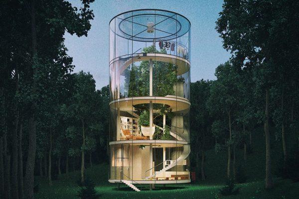 tubular-glass-tree-house