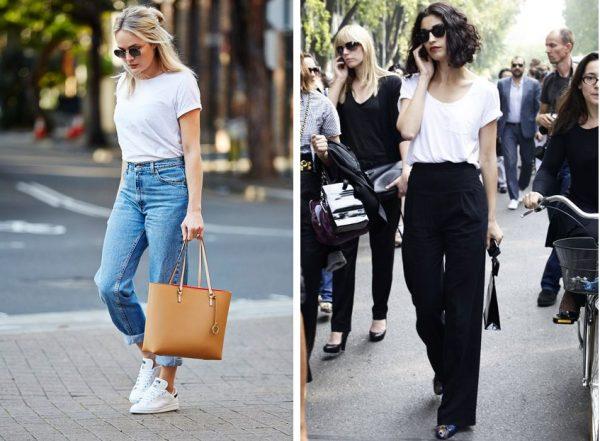 beyaz tişört - yüksek bel pantolon