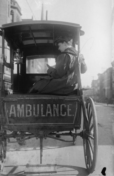 UNITED STATES - CIRCA 1911:  Dr. Elizabeth Bruyn sits in the rear of her Horse Drawn Ambulance  (Photo by Buyenlarge/Getty Images)