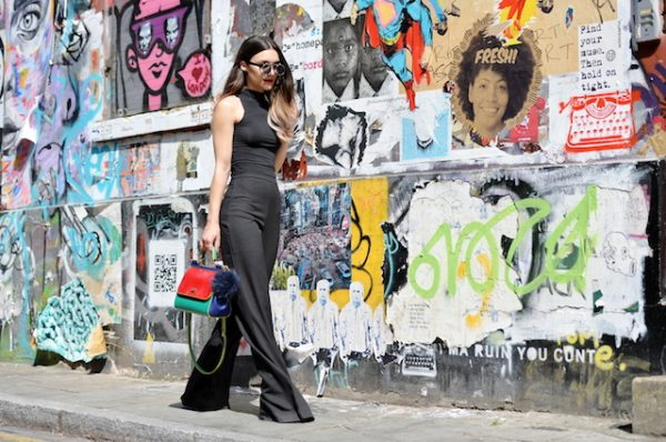 geniş paça siyah pantolon kombini