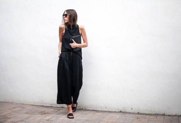 siyah culotte pantolon kombini