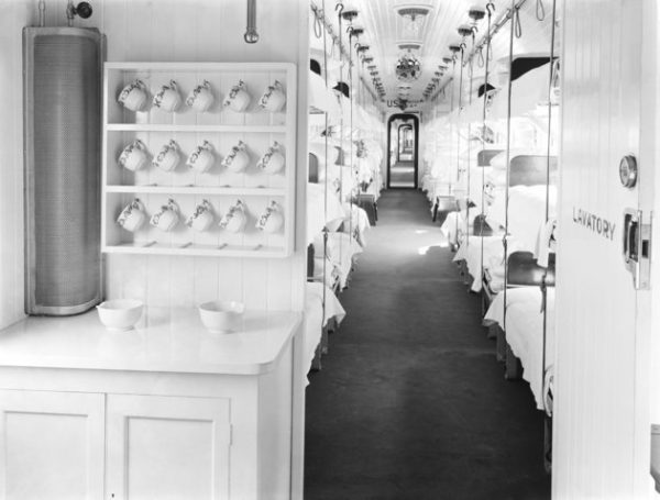 UNITED KINGDOM  :  Interior view of a ward car with three tiers of bunk beds. Ambulance trains were used during the First World War in France and Belgium to transport wounded or sick soldiers to hospital. This train was on display in several stations in Lancashire and Yorkshire before being taken to the Western Front.  (Photo by SSPL/Getty Images)
