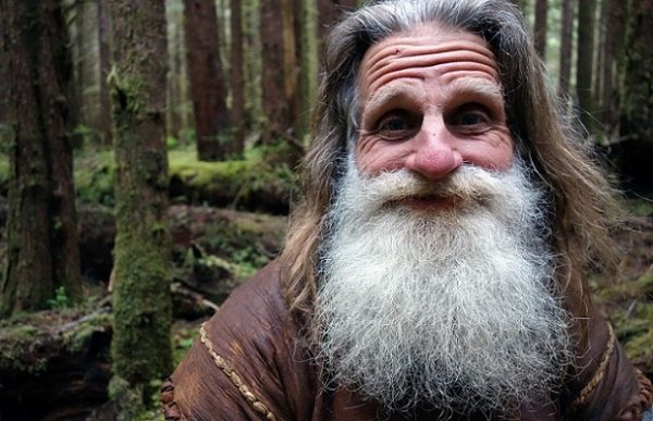 Location: Hoh Rainforest Olympic Peninsula Washington, USA: A smiling portrait of Mick Dodge, the legend himself, deep within the Hoh Rainforest. (Photo Credit: National Geographic Channels/Screaming Flea Productions/Brian Skope)